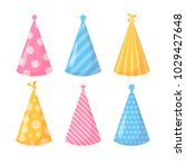 birthday hats set. isolated....   Shutterstock .eps vector #1029427648