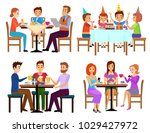 eating adults and kids set... | Shutterstock . vector #1029427972