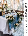 table with blue tablecloth... | Shutterstock . vector #1029443722
