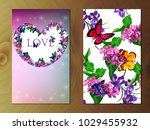 valentines day heart with iris... | Shutterstock .eps vector #1029455932