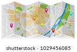map city gps | Shutterstock .eps vector #1029456085