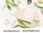 female home office desk.... | Shutterstock . vector #1029480145