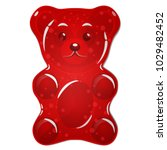 Red Gummy Bear Candy Isolated...