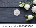 silver bitcoin and eustoma... | Shutterstock . vector #1029483886