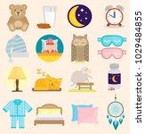 sleep time vector icons flat... | Shutterstock .eps vector #1029484855