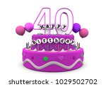 pink cake with happy birthday... | Shutterstock . vector #1029502702