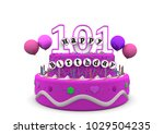 pink cake with happy birthday... | Shutterstock . vector #1029504235