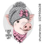 vector pig with grey knitted... | Shutterstock .eps vector #1029506638