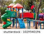 happy blond boy  child climb on ... | Shutterstock . vector #1029540196