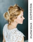 young beautiful bride with a...   Shutterstock . vector #1029545506