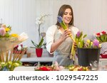 smiling woman florist small... | Shutterstock . vector #1029547225