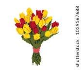 pixel art  a bouquet of yellow  ... | Shutterstock .eps vector #1029567688