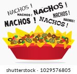 loaded cheese nacho plate with... | Shutterstock .eps vector #1029576805