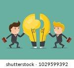 businessman pushing a light... | Shutterstock .eps vector #1029599392