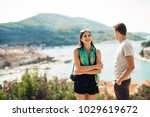 young couple travelling and... | Shutterstock . vector #1029619672