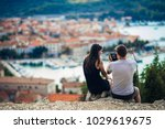 cheerful young couple having a... | Shutterstock . vector #1029619675