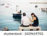 romantic couple having... | Shutterstock . vector #1029619702