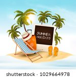summer holidays background.... | Shutterstock .eps vector #1029664978
