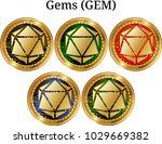 set of physical golden coin... | Shutterstock .eps vector #1029669382