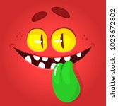funny cartoon monster face... | Shutterstock .eps vector #1029672802