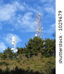 microwave antenna towers on... | Shutterstock . vector #1029679