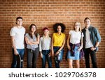 happy young adult group of... | Shutterstock . vector #1029706378
