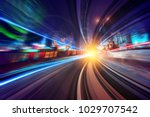creative image of moving train... | Shutterstock . vector #1029707542