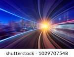 creative image of moving train... | Shutterstock . vector #1029707548