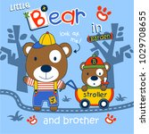 bear and brother in the garden... | Shutterstock .eps vector #1029708655