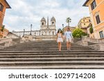 walking couple tourist on... | Shutterstock . vector #1029714208
