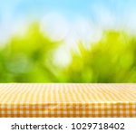 table with tablecloth on nature ... | Shutterstock . vector #1029718402