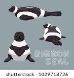 ribbon seal cartoon vector...   Shutterstock .eps vector #1029718726