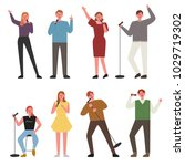 people singing in different... | Shutterstock .eps vector #1029719302