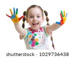 funny child girl with painted... | Shutterstock . vector #1029736438