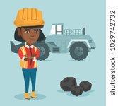 young african american miner in ... | Shutterstock .eps vector #1029742732