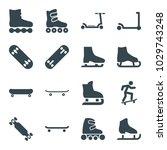 skate icons. set of 16 editable ... | Shutterstock .eps vector #1029743248
