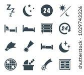 night icons. set of 16 editable ... | Shutterstock .eps vector #1029743326