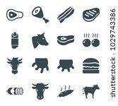 beef icons. set of 16 editable... | Shutterstock .eps vector #1029743386