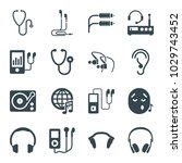 listen icons. set of 16... | Shutterstock .eps vector #1029743452