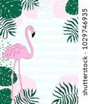 tropical frame rectangular... | Shutterstock .eps vector #1029746935