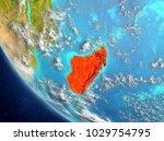 madagascar from orbit of planet ... | Shutterstock . vector #1029754795