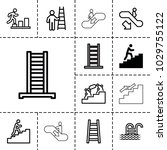stair icons. set of 13 editable ... | Shutterstock .eps vector #1029755122