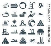 pool icons. set of 25 editable...   Shutterstock .eps vector #1029759322