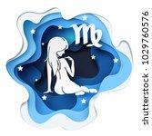 paper art of women to virgo of... | Shutterstock .eps vector #1029760576