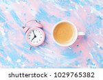 morning cup of coffee and alarm ... | Shutterstock . vector #1029765382