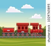 train riding in the forest | Shutterstock .eps vector #1029765895