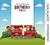 happy birthday card with kids... | Shutterstock .eps vector #1029767692