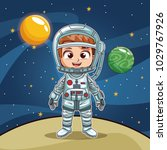 girl astronaut on planet cartoon | Shutterstock .eps vector #1029767926