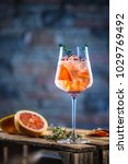 cocktail drink on a old  wooden ... | Shutterstock . vector #1029769492