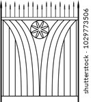 wrought iron gate  ornamental... | Shutterstock .eps vector #1029773506